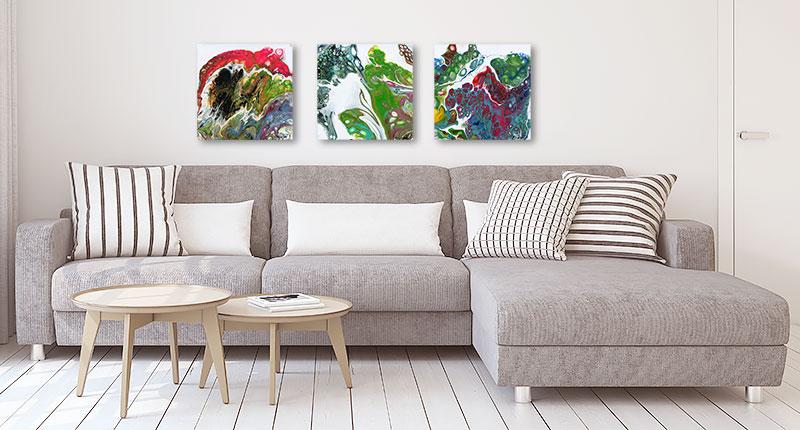 Ophængning af malerier over sofaen